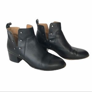 Franco Sarto Stud Black Leather Ankle Boots 6
